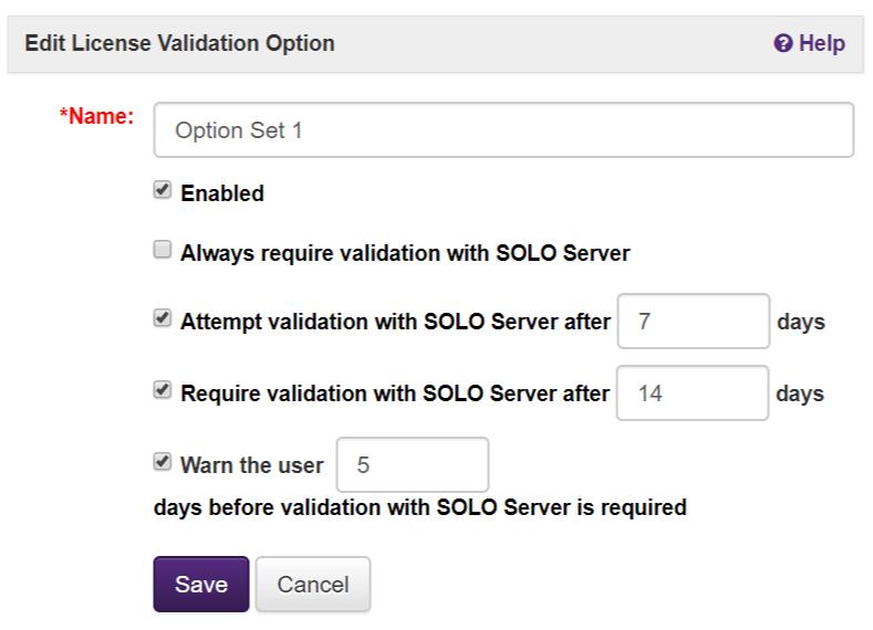 Edit License Validation Options