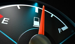 Gas gauge showing usage-based consumption at 50 percent.