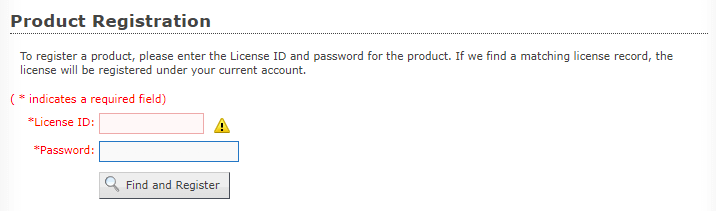 Customer License Portal Product Registration