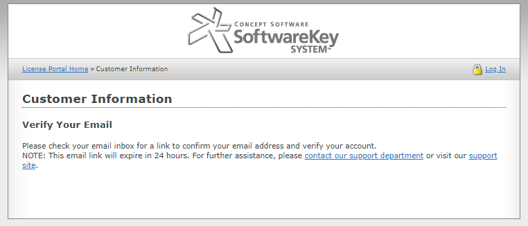 Email validation confirmation message for new signups