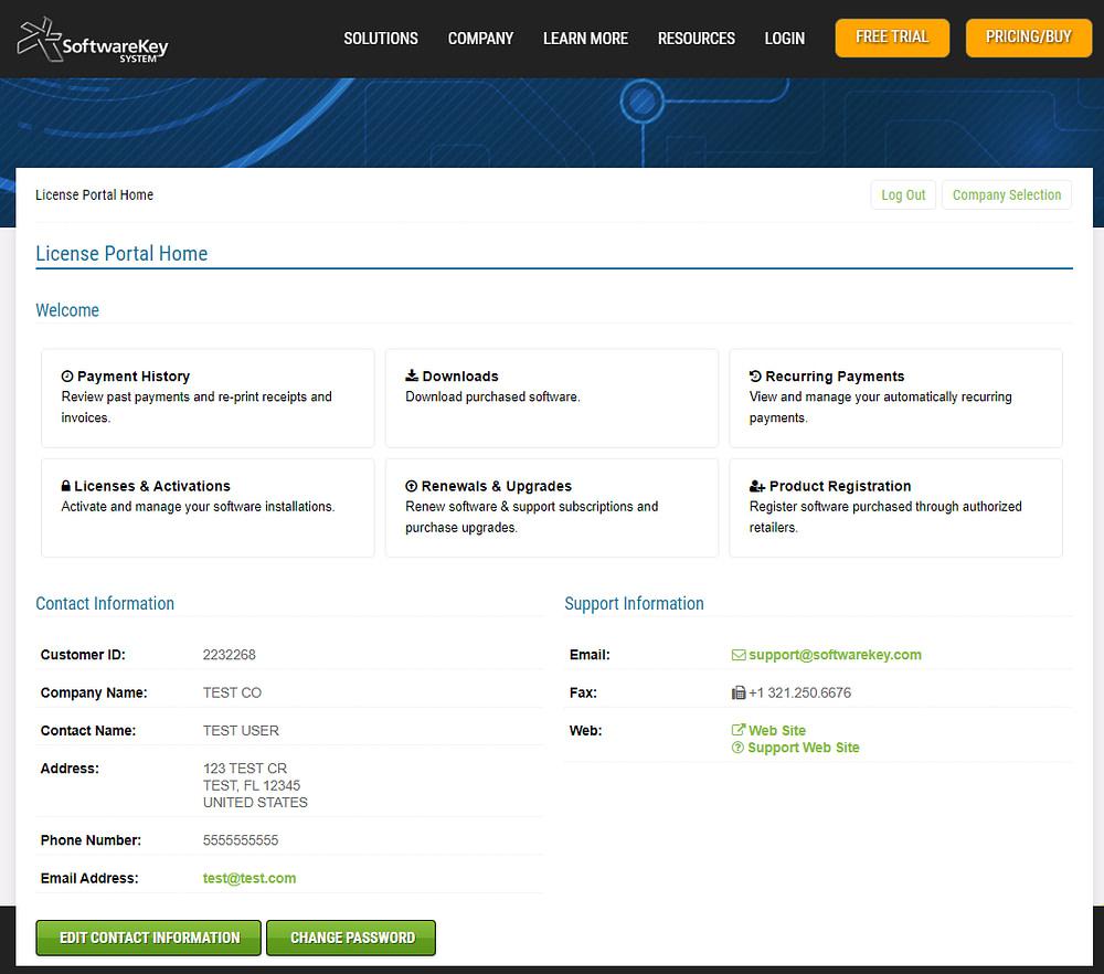 Customer License Portal SoftwareKey