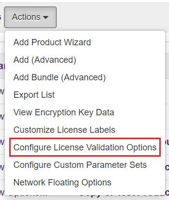 Configure License Validation Options