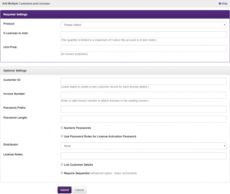 Easily add bulk unregistered customers and licenses
