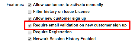 Email validation checkbox feature setup for new signups