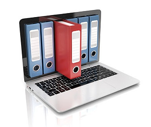 Large files in binders stored on laptop computer.