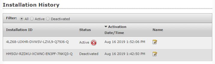 Customer License Portal Installation History