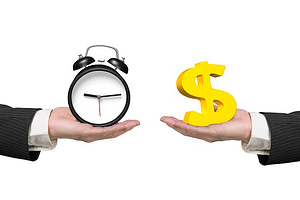 One hand holding a clock, and another hand holding a dollar sign to represent subscription versus one-time payment.